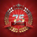 Celebrative Golden Frame for 75th Anniversary. Royalty Free Stock Photo