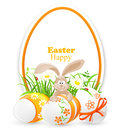 Celebratory banner easter eggs rabbit Stock Image