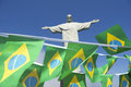 Celebratory brazilian flag bunting at corcovado rio de janeiro hanging christ the redeemer brazil Royalty Free Stock Images