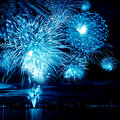 Celebratory bright firework in a night sky Royalty Free Stock Images