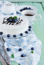 Celebratory cake with white frosting and fresh blueberries on a wooden background festivals and events selective focus Stock Image
