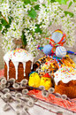 Celebratory easter sweet bread decoration rag doil Stock Photography