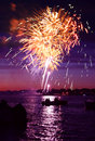 Celebratory firework bright in a night sky Royalty Free Stock Image