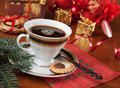 Celebratory still life christmas with coffee Royalty Free Stock Photo
