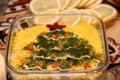 Celebratory table happy new year crismas tree Royalty Free Stock Photo