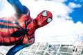 Celebrities comics spiderman marvel comics superhero spider man real photo of location event romics in rome italy is a Royalty Free Stock Photo