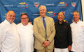 Celebrity chefs david burke tony mantuano masah flushing ny august masaharu morimoto and jim abbey with usta executive director Royalty Free Stock Photo