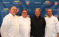Celebrity chefs david burke tony mantuano masaharu morimoto and jim abbey during us open food tasting preview flushing ny august Royalty Free Stock Photography