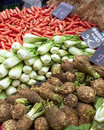 Celeriac, fennel and carrots at the local market Stock Images