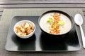 Celery cream soup on black dish Royalty Free Stock Photo