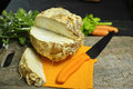 Celery root - wedges celeriac, source of vitamine, fresh healthy Royalty Free Stock Photo