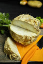 Celery root - wedges celeriac, source of vitamine, fresh healthy Royalty Free Stock Photo