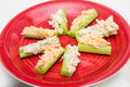 Celery sticks with chicken salad and pimento cheese a healthy snack of stuffed Royalty Free Stock Images