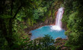 Celestial blue waterfall in volcan tenorio national park costa rica Royalty Free Stock Photo