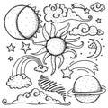 Celestial elements doodle Royalty Free Stock Photo
