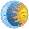 Celestial Sun and Moon Royalty Free Stock Photo
