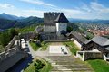 Celje medieval castle in Slovenia above the river  Savinja Royalty Free Stock Photo