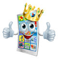 Cell phone cartoon king illustration of a character wearing a gold crown and giving a double thumbs up Royalty Free Stock Images