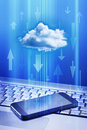 Cell phone cloud technology a and laptop with a and data arrows Royalty Free Stock Photo