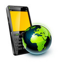 Cell phone and earth Royalty Free Stock Image