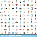 100 cell phone icons set, cartoon style