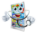 Cell phone man holding a stethoscope happy cartoon Royalty Free Stock Photography