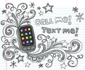 Cell Phone PDA Back to School Doodle Set Vector Royalty Free Stock Photo