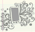 Cell Phone PDA Sketchy Doodles Vector Royalty Free Stock Photo