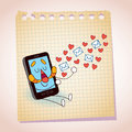 Cell phone sending love messages note paper cartoon sketch illustration of a Stock Image