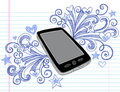 Cell Phone Sketchy Doodles PDA Vector Royalty Free Stock Photo