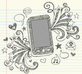 Cell Phone Sketchy Doodles PDA Vector Royalty Free Stock Images