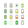 Cell phone, smartphone electric charge, battery energy vector icons