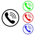 Cell phone vector icon. Telephone call illustration symbol. Ringing phone sign or logo. Royalty Free Stock Photo
