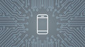 Cell Smart Phone Icon Over Computer Chip Moterboard Background Banner Royalty Free Stock Photo