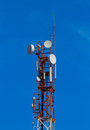 Cell tower background blue sky Royalty Free Stock Images