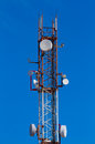 Cell tower background blue sky Stock Photo