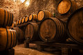 Cellar with barrels for storage of wine Royalty Free Stock Photo