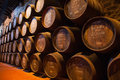 Cellar with wine barrels wooden hold port fortified to mature in cellars portugal Royalty Free Stock Photo