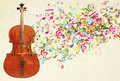 Cello and Colorful Musical Notes Royalty Free Stock Photo