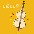 Cello illustrations of a violoncello retro style Royalty Free Stock Images