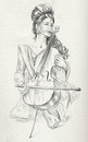 Cello player. Freehand sketch. Full sized, orignal. Royalty Free Stock Photo