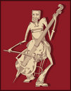 Cello player - line drawing - Royalty Free Stock Photo