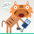 Cellphone charger a tiger about to charge his Royalty Free Stock Photos