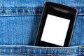Cellular in jeans pocket Stock Image