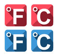 Celsius and fahrenheit symbol icon set isolated Stock Photos