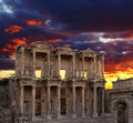 Celsus library in ephesus at sunset turkey Stock Photos