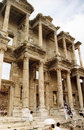 Celsus ruins tourists near the of the library in the ancient greek city of ephesus in turkey Royalty Free Stock Image