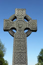 Celtic cross tombstone gravestone in a cemetery Royalty Free Stock Photo