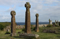 Celtic crosses saint brides churchyard pembrokeshire coast in church view of coastline Royalty Free Stock Photo