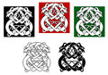 Celtic dogs wolves pattern ornamental elements Stock Images